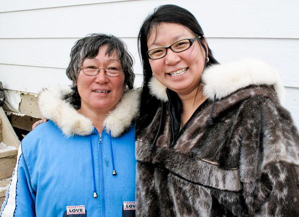 Oo Aqpik with eldest sister, Naomi Akavak